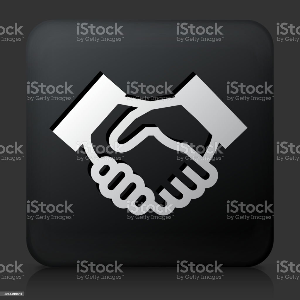 Black Square Button with Handshake vector art illustration