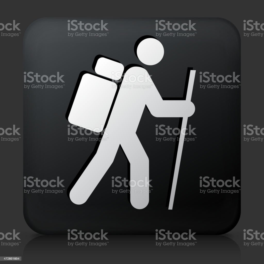 Black Square Button with Hiking Man vector art illustration
