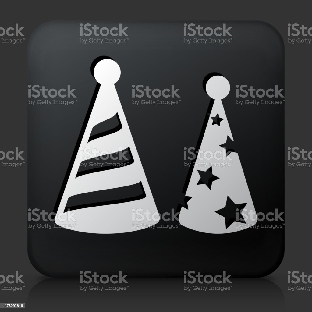 Black Square Button with Holiday Party Hats vector art illustration