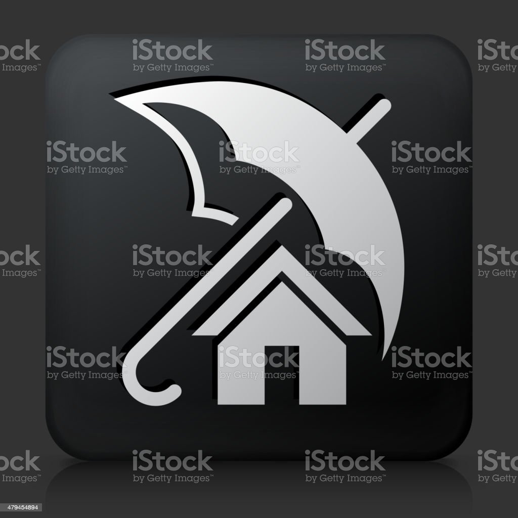 Black Square Button with Home Insurance vector art illustration