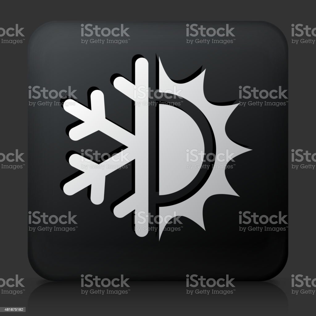Black Square Button with Hot & Cold vector art illustration