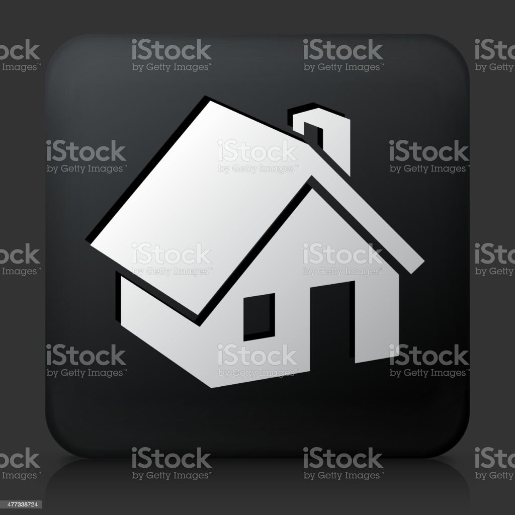 Black Square Button with House Icon vector art illustration