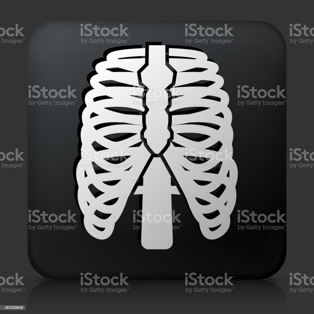 Black Square Button with Human Ribs Icon vector art illustration