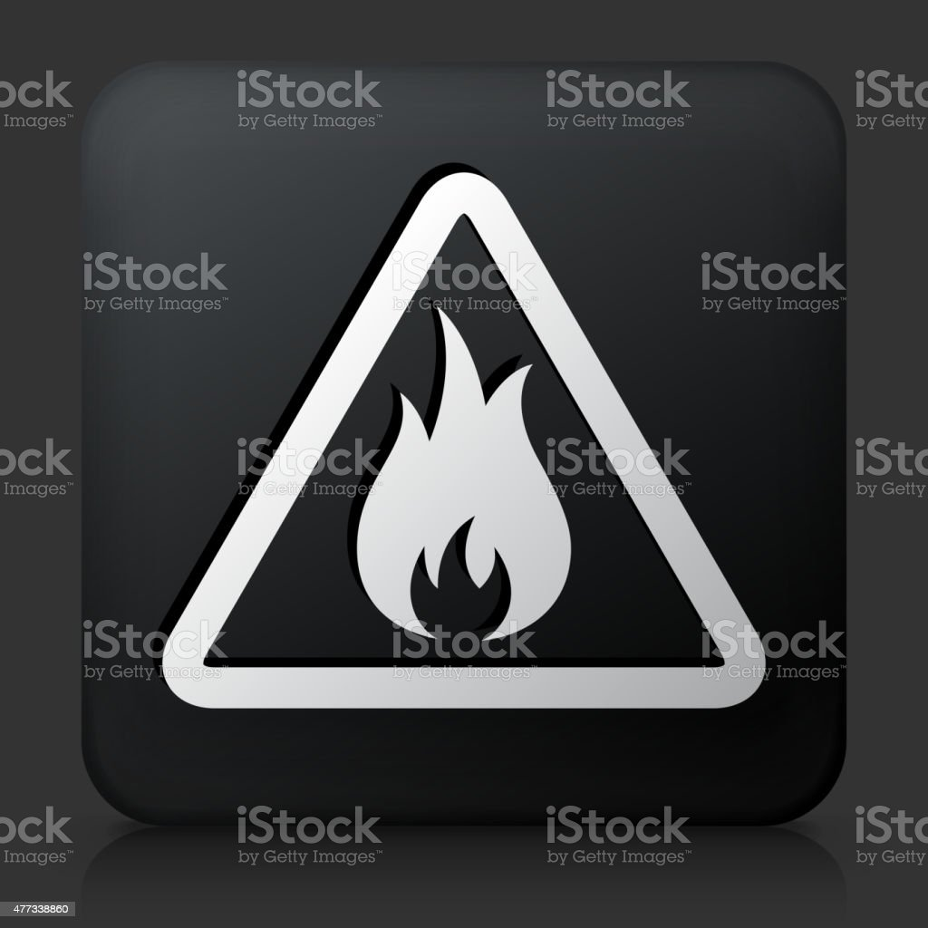 Black Square Button with Inflammable Icon vector art illustration