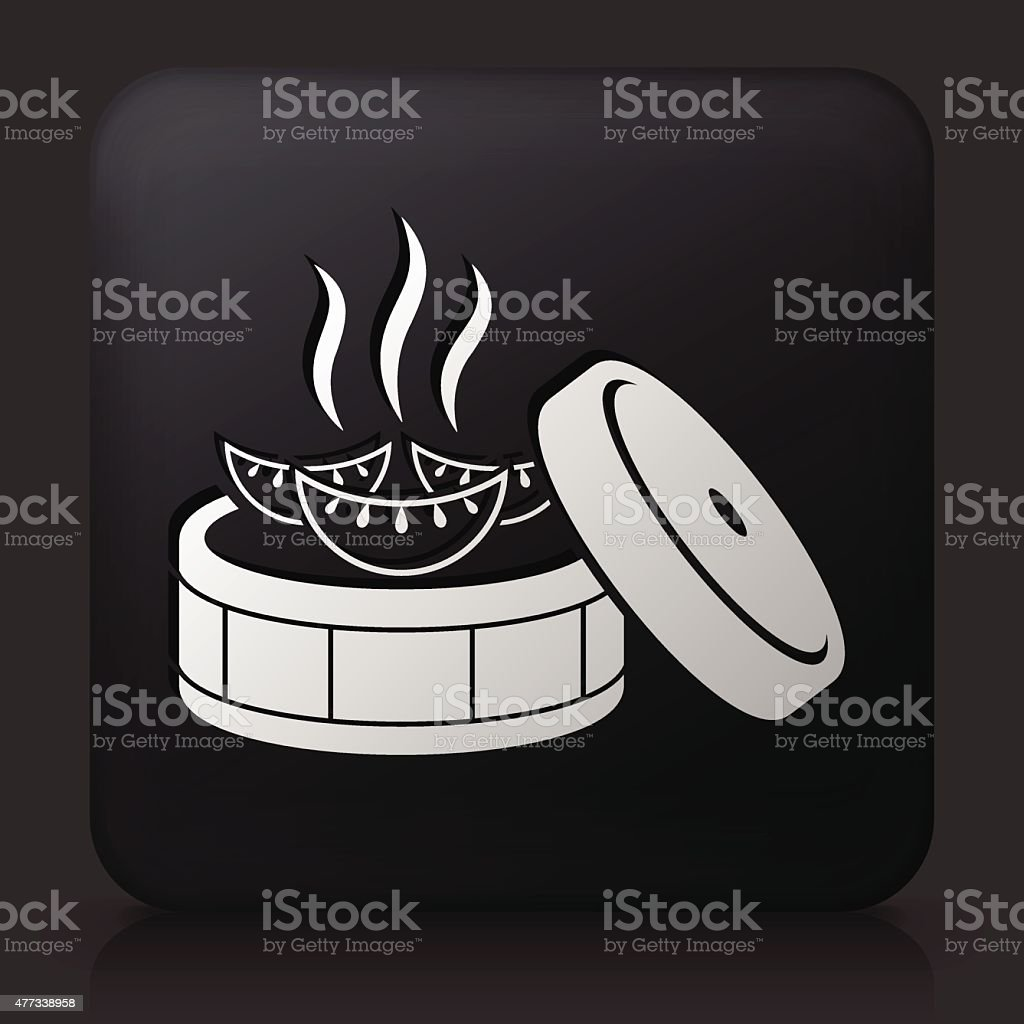 Black Square Button with Japanese Dumpling vector art illustration