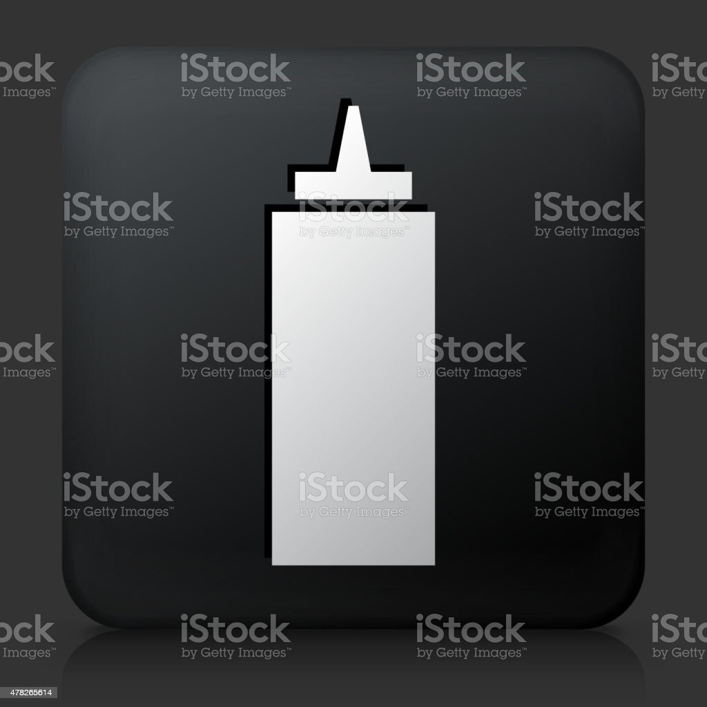 Black Square Button with Ketchup Icon vector art illustration