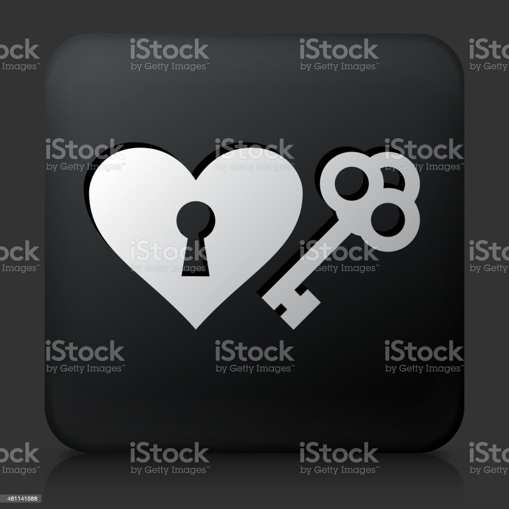 Black Square Button with Key to the Heart Icon vector art illustration