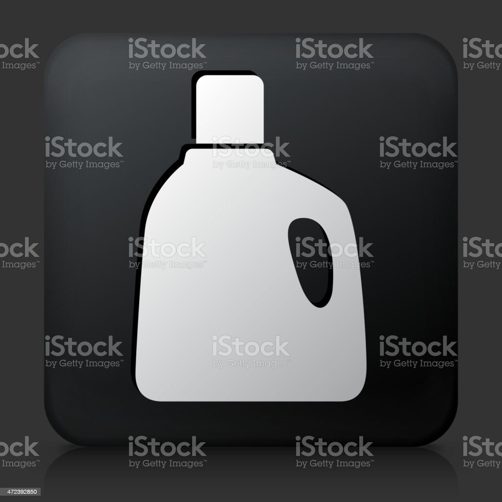 Black Square Button with Laundry Detergent Icon vector art illustration