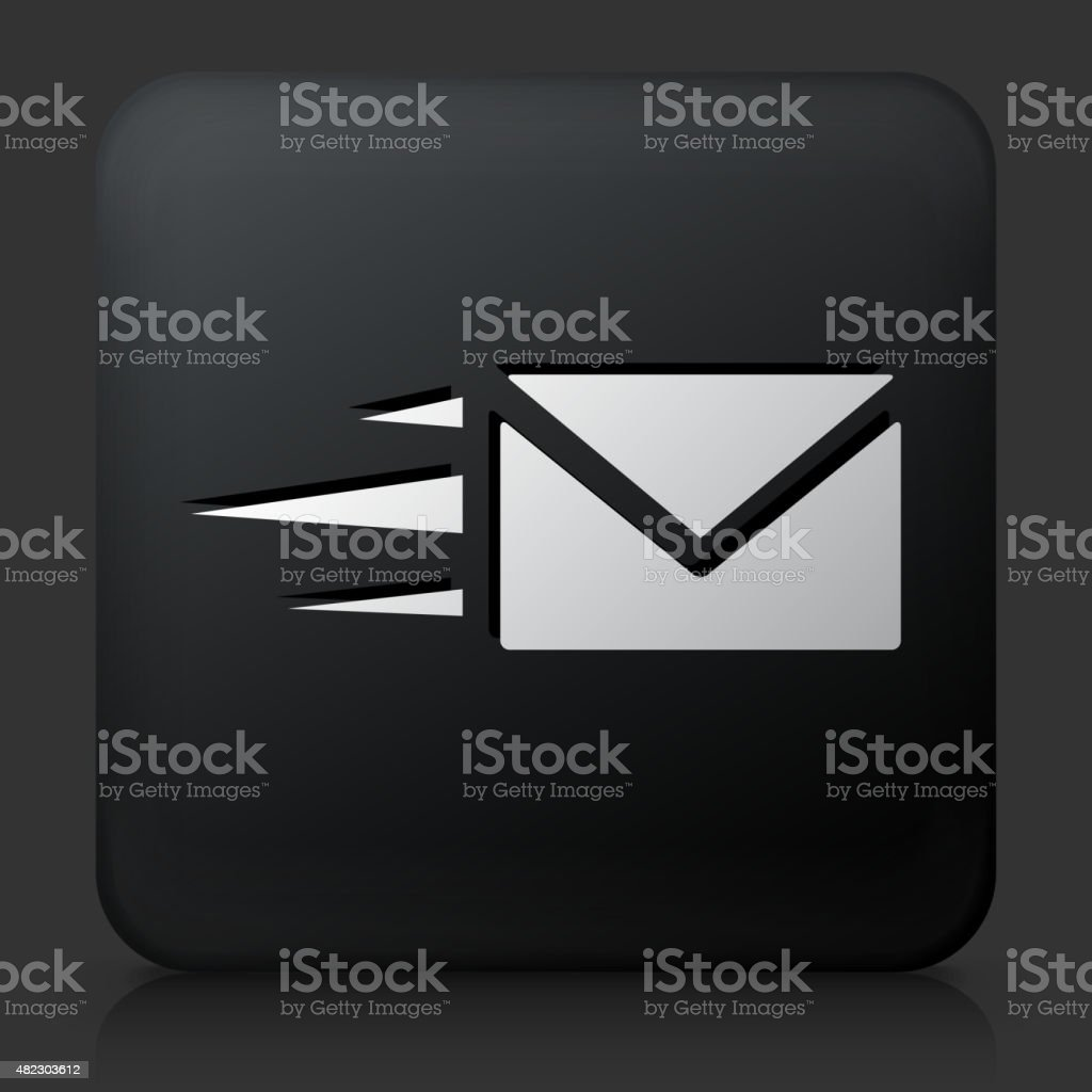 Black Square Button with Letter Icon vector art illustration