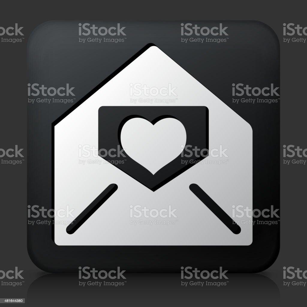 Black Square Button with Lover Letter in Envelope vector art illustration