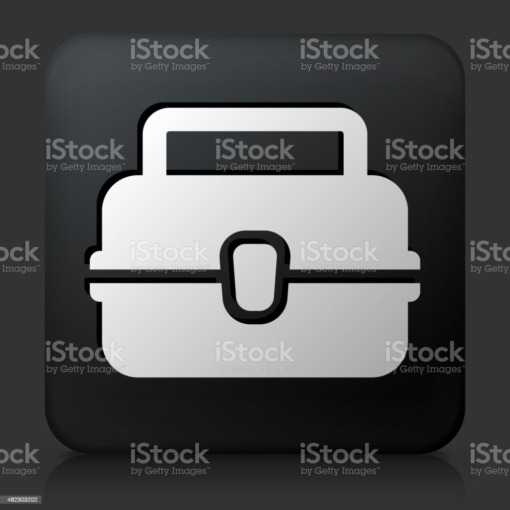 Black square button with Lunch Box vector art illustration