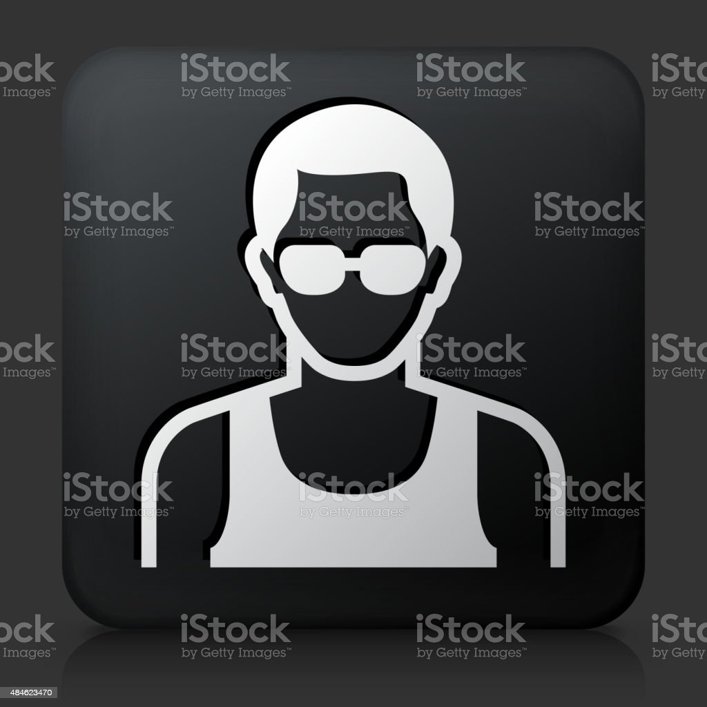 Black Square Button with Male Face Icon vector art illustration