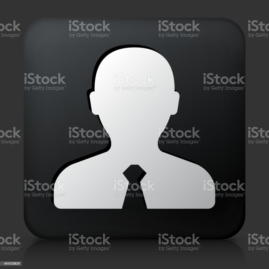 Black Square Button with Male Headshot Icon vector art illustration