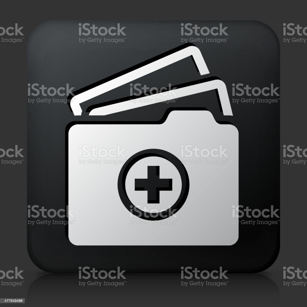 Black Square Button with Medical FIles vector art illustration