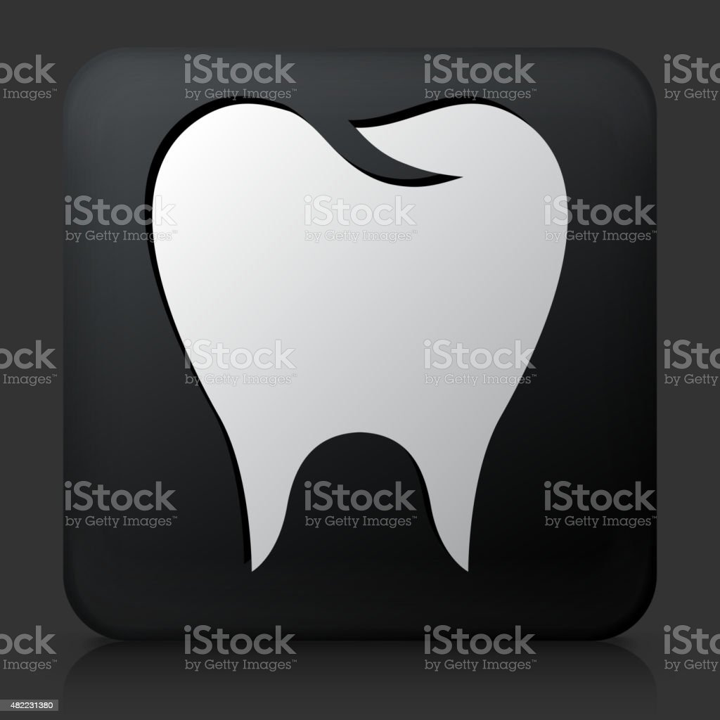 Black Square Button with Molar Icon vector art illustration