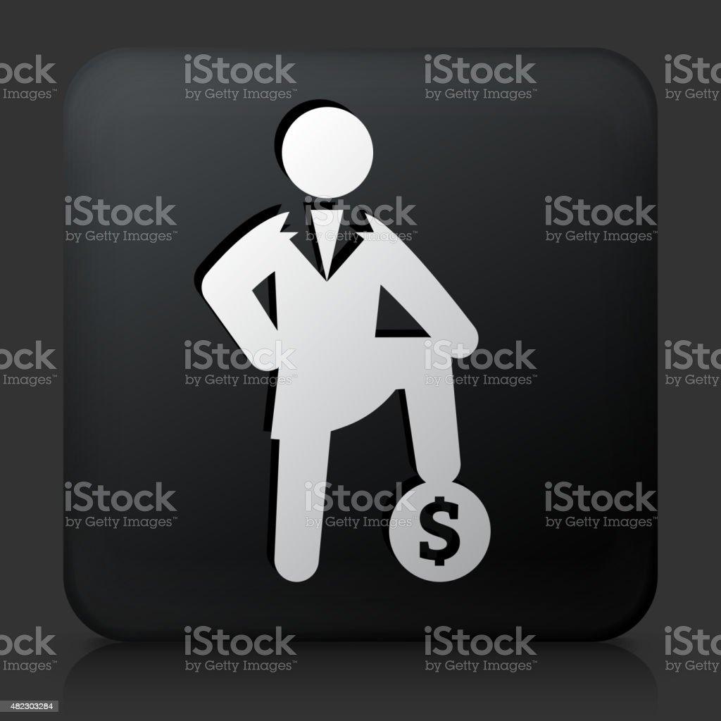 Black Square Button with Money Success Icon vector art illustration