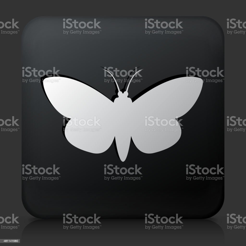 Black Square Button with Moth vector art illustration