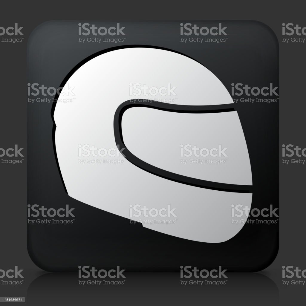 Black Square Button with Motorcycle Helmet vector art illustration