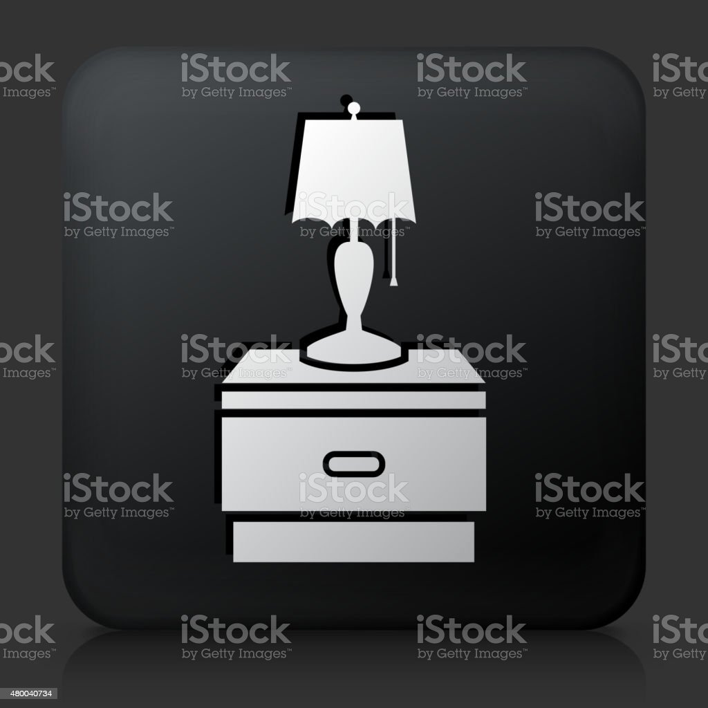 Black Square Button with Night Stand and Lamp vector art illustration
