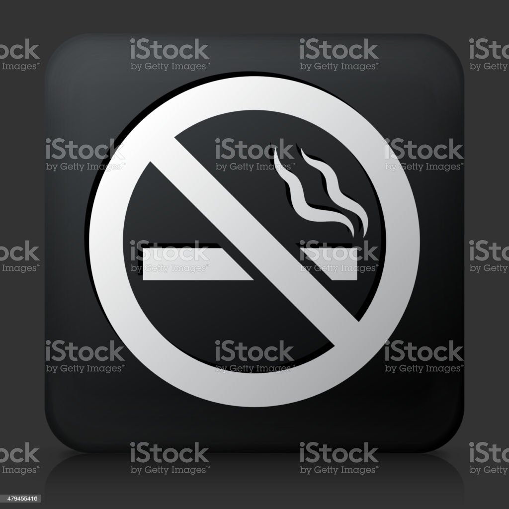 Black Square Button with No Cigarette Smoking vector art illustration