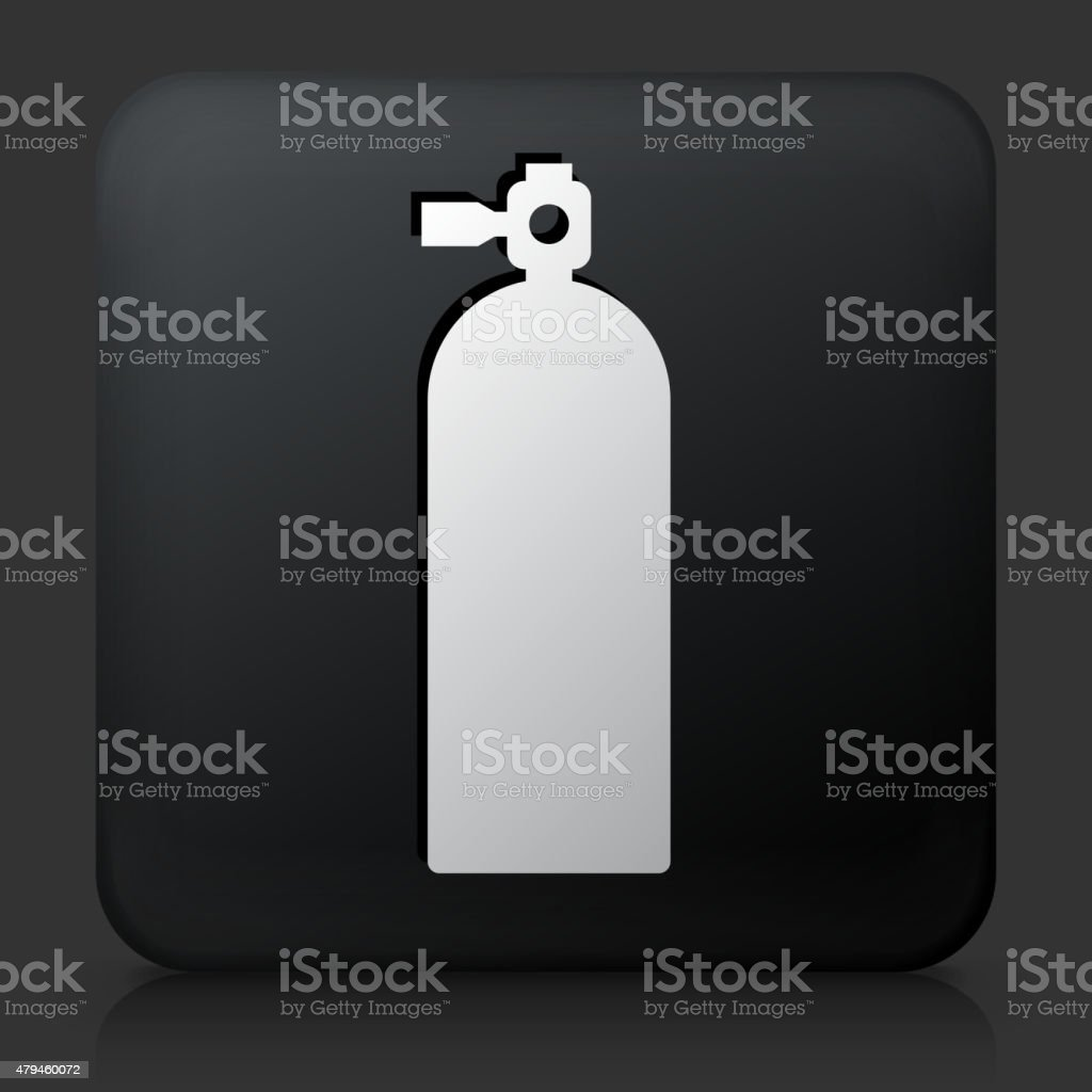 Black Square Button with Oxygen Tank Icon vector art illustration