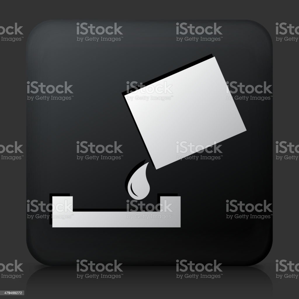 Black Square Button with Paint Bucket and Paint Roller vector art illustration