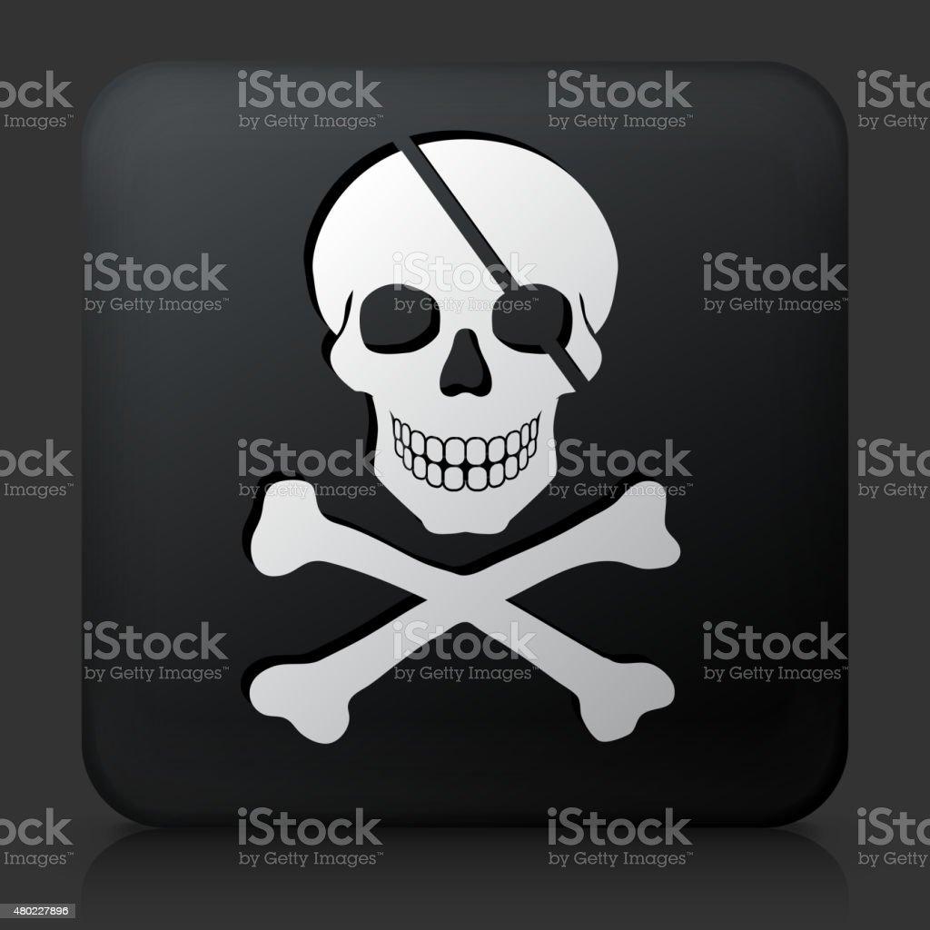 Black Square Button with Pirate Skull & Bones vector art illustration