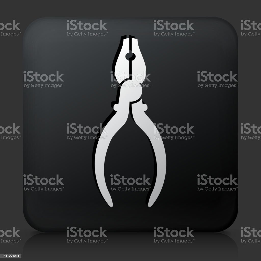 Black Square Button with Pliers Icon vector art illustration