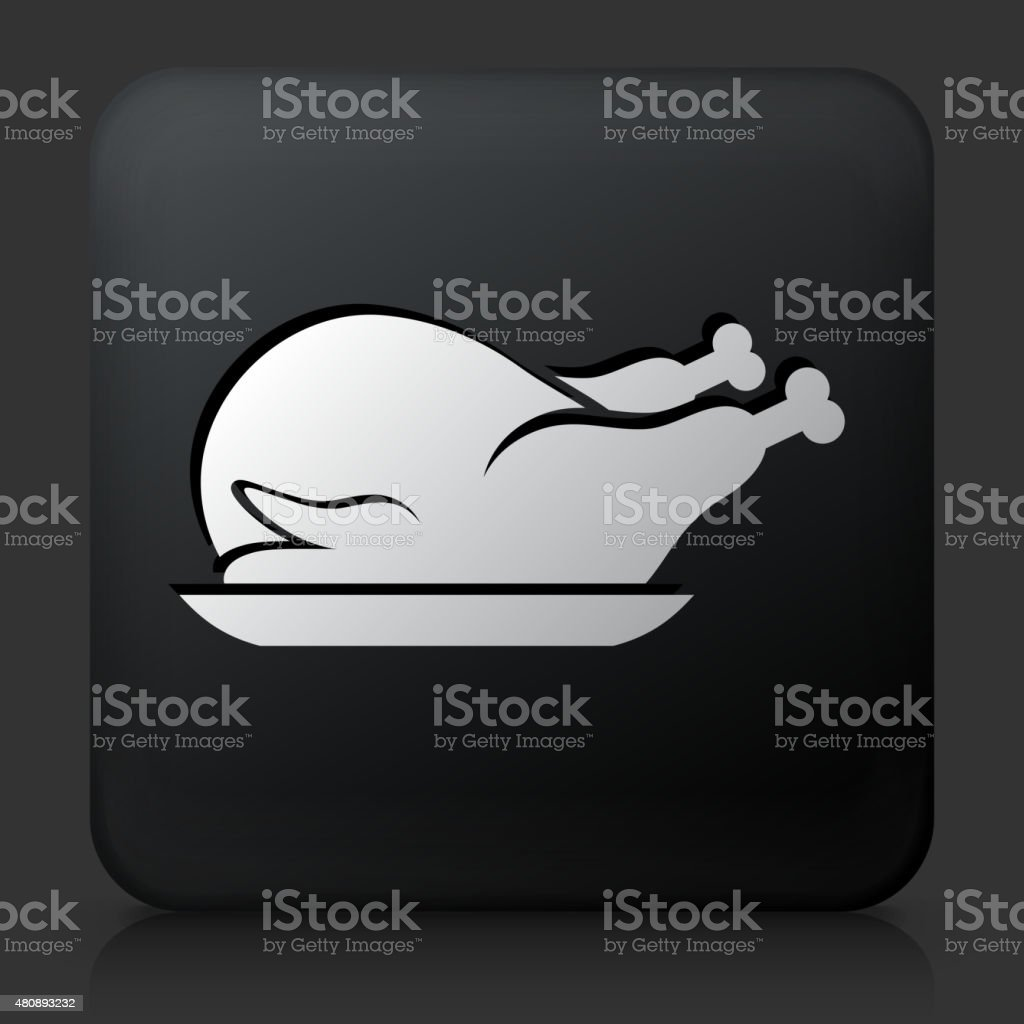 Black Square Button with Poultry Dish Icon vector art illustration