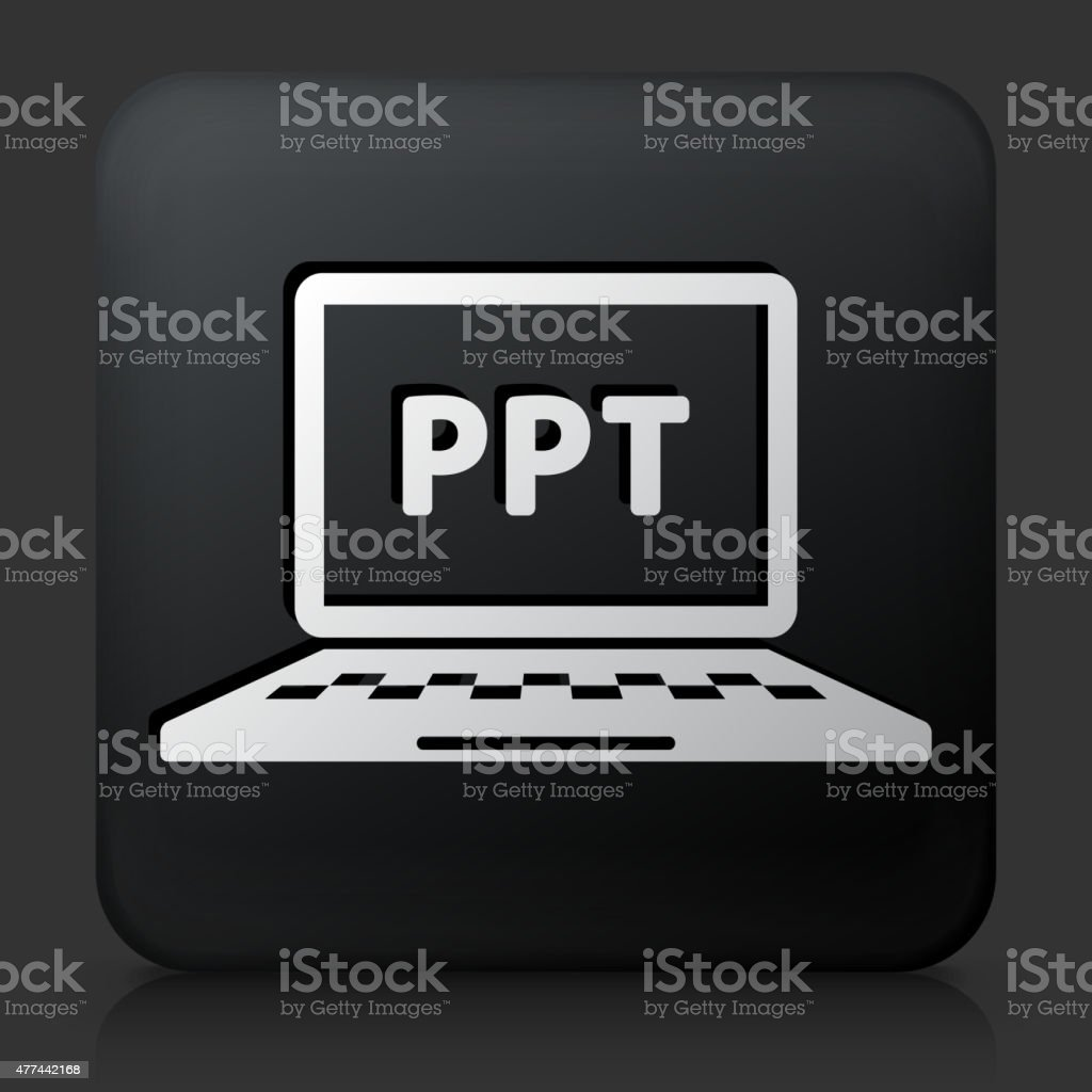 Black Square Button with Power Point Icon vector art illustration