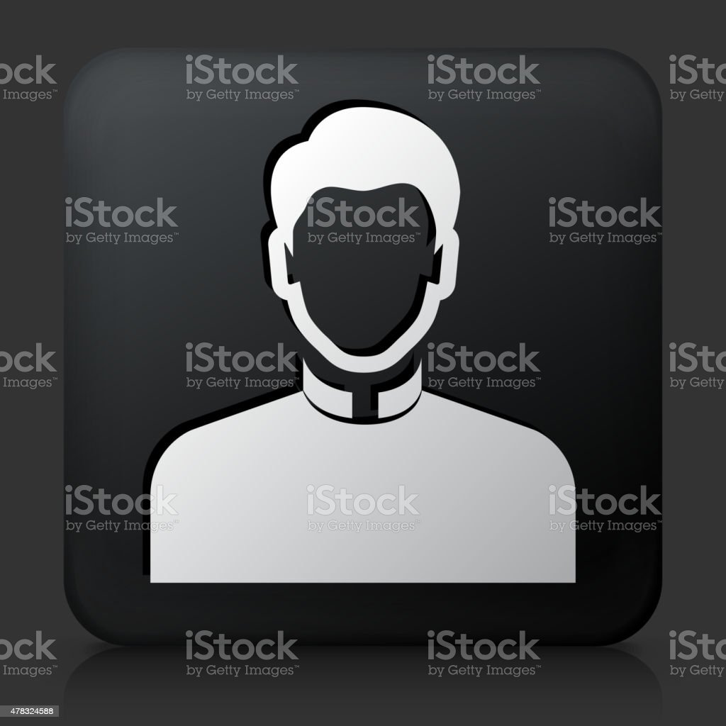 Black Square Button with  Priest vector art illustration