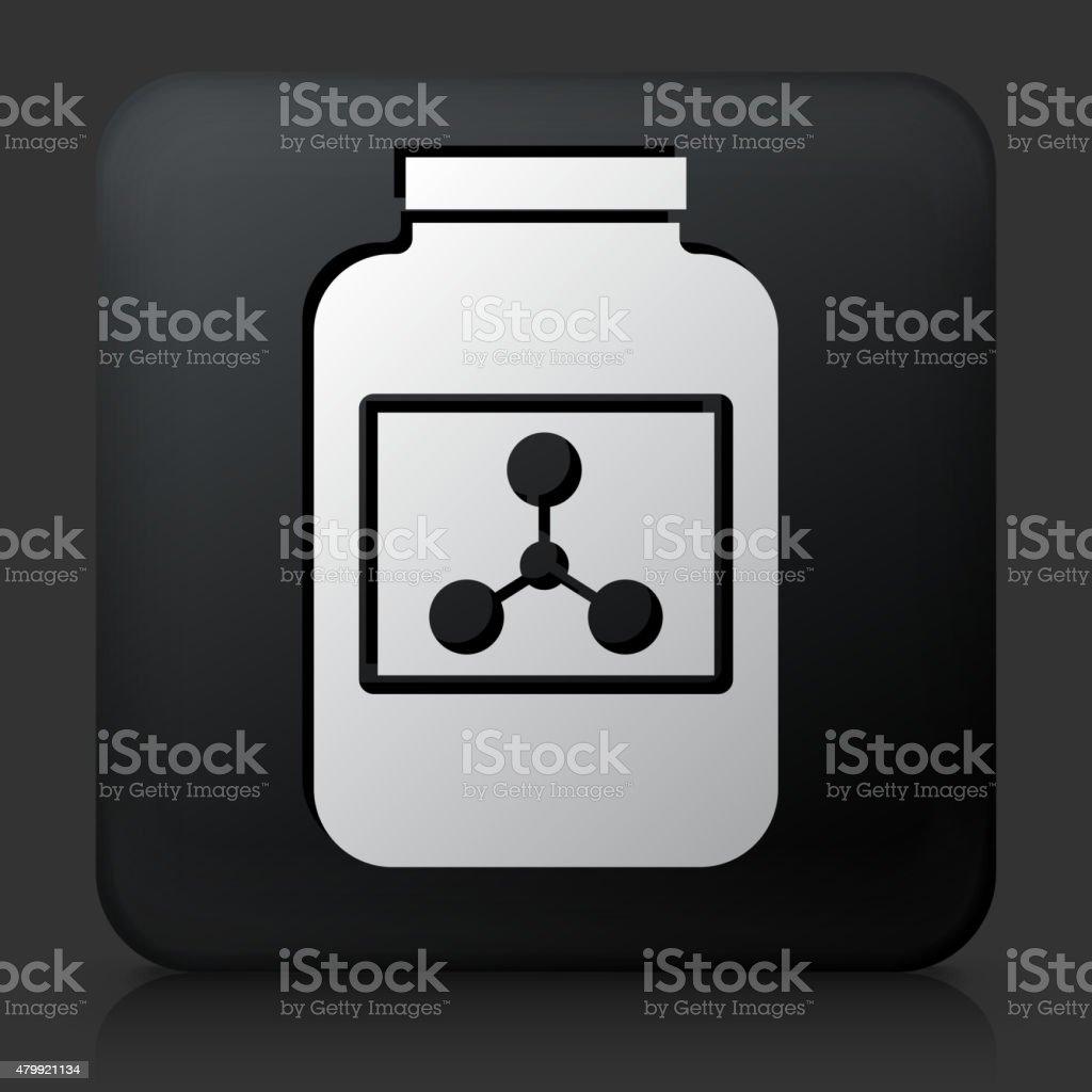 Black Square Button with Protein Powder Icon vector art illustration