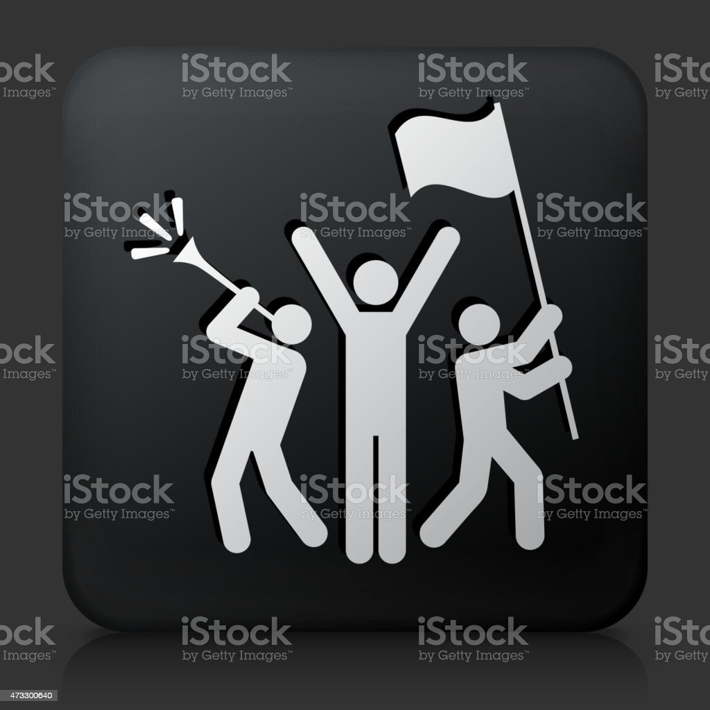 Black Square Button with Rally Celebration Icon vector art illustration