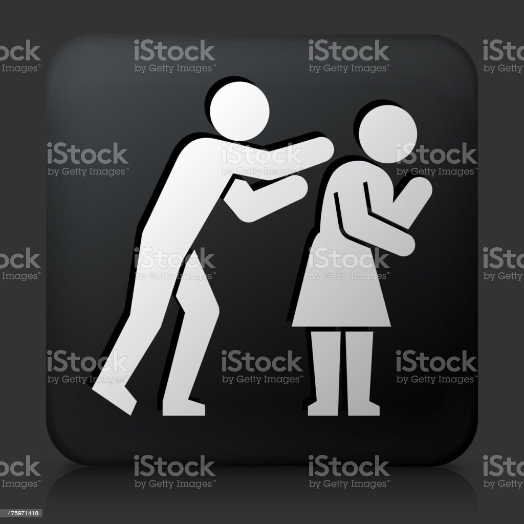 Black Square Button with Relationship Problems Icon vector art illustration