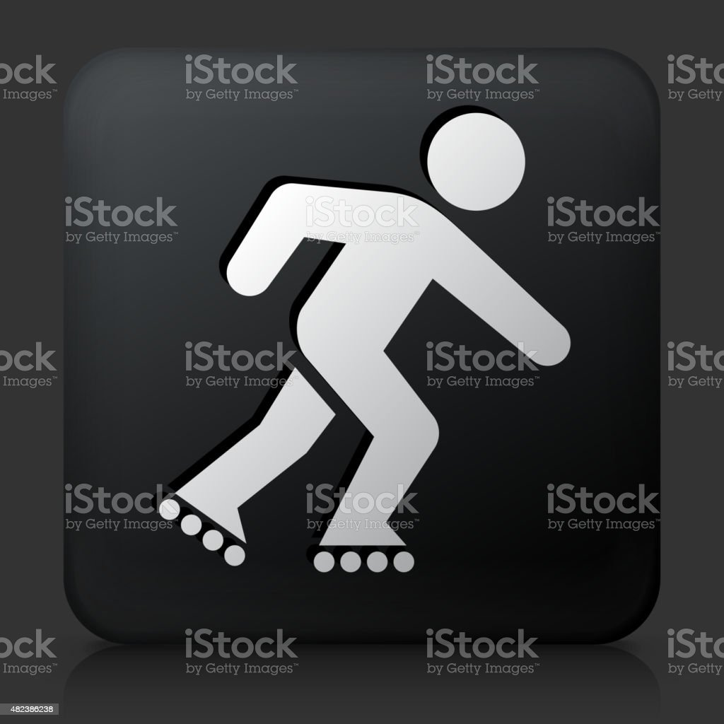 Black Square Button with Roller Blading Icon vector art illustration
