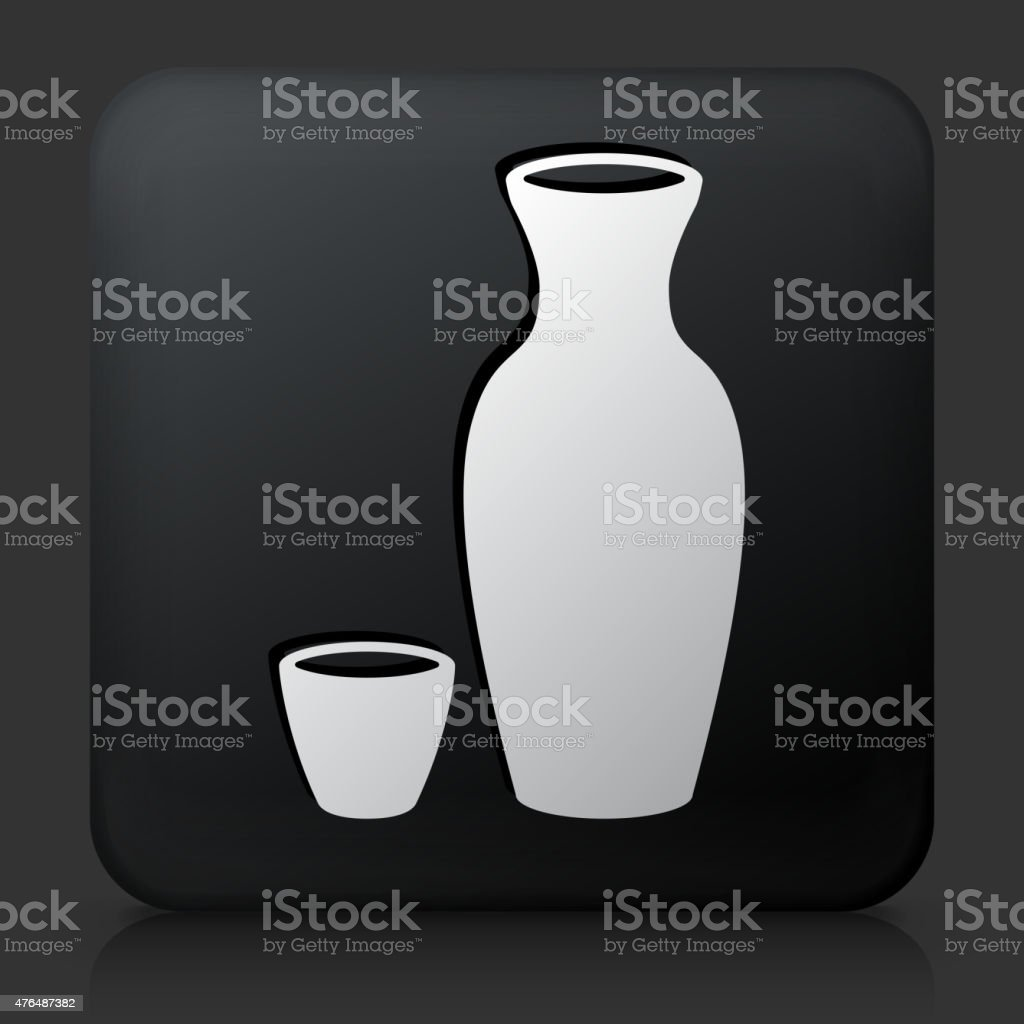 Black Square Button with Sake Drink vector art illustration