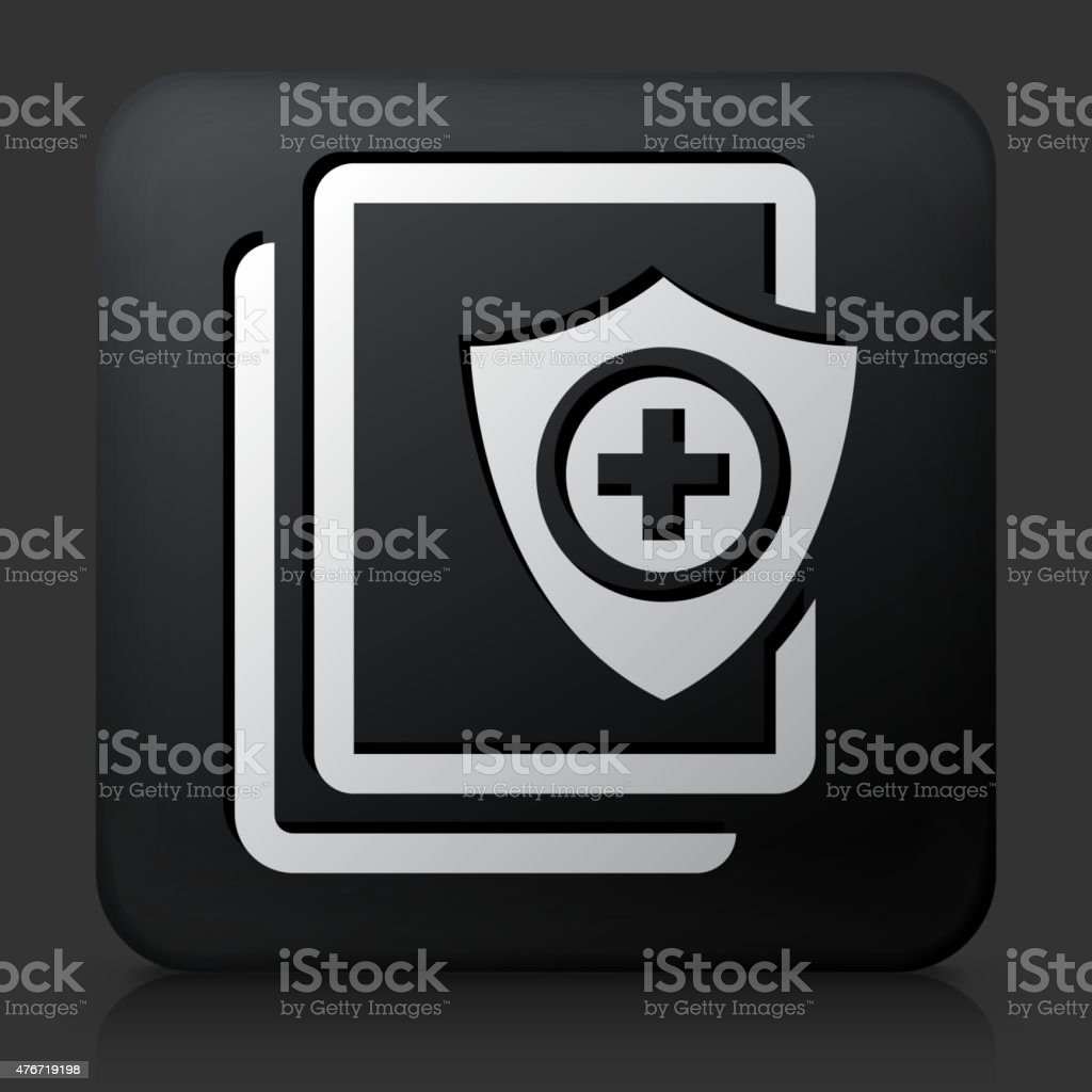 Black Square Button with Secure Medical Files vector art illustration