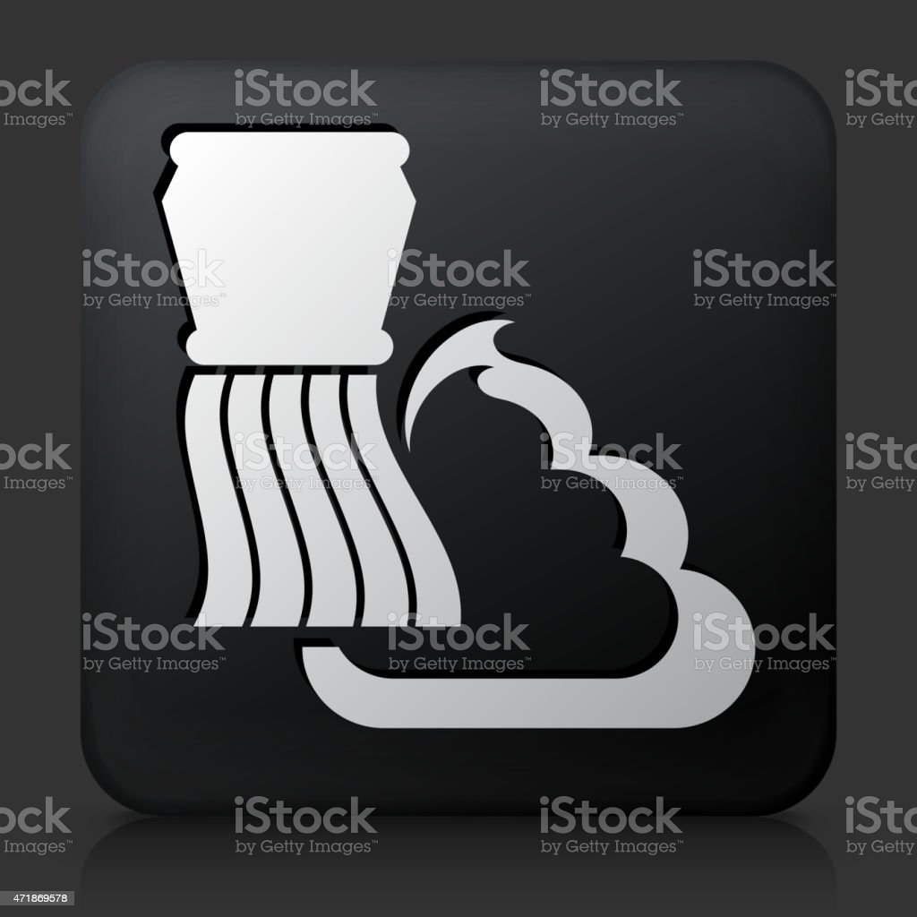 Black Square Button with Shaving Cream and Brush vector art illustration