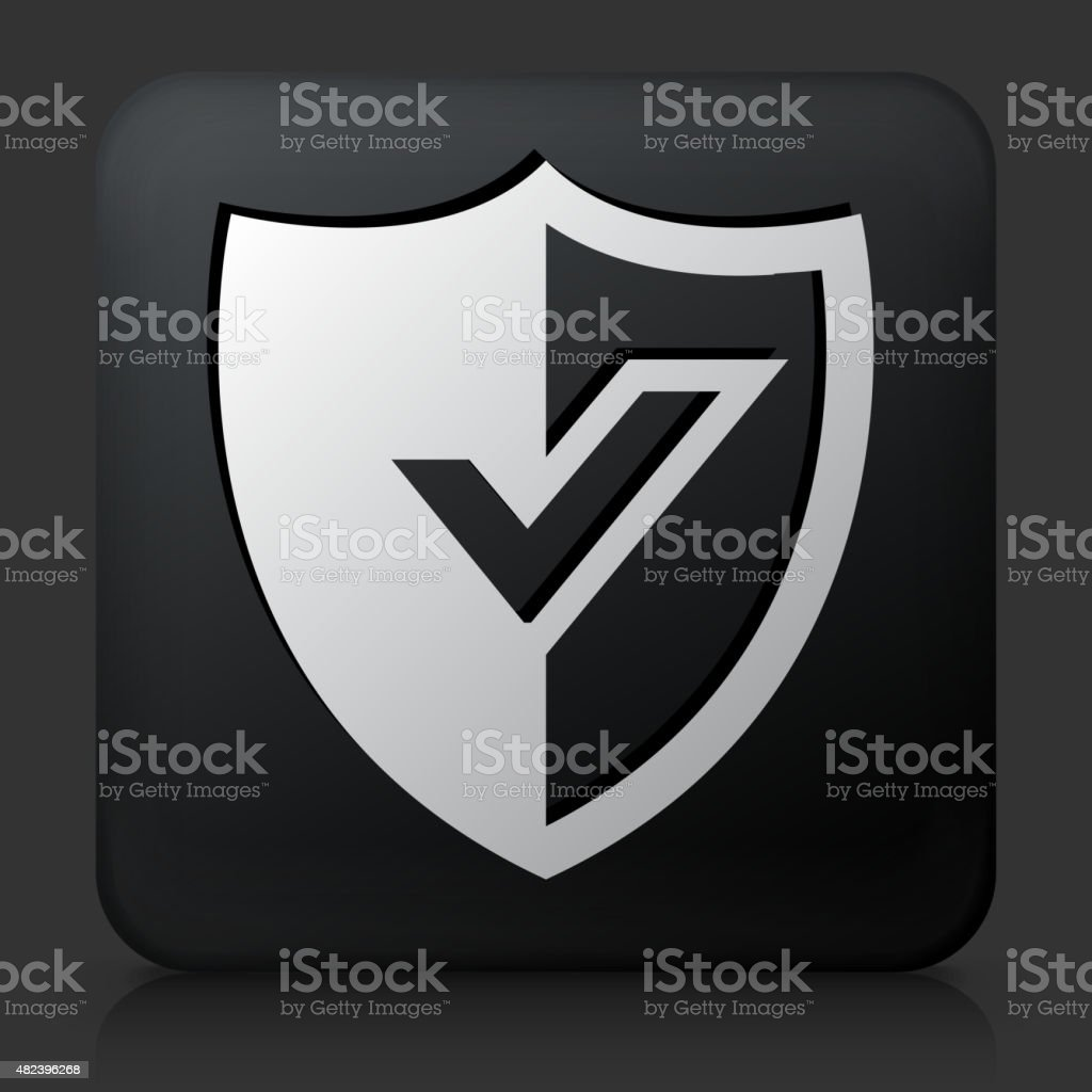 Black Square Button with Shiled Icon vector art illustration