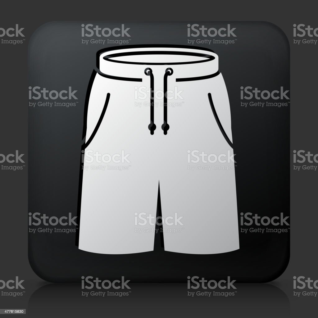Black Square Button with Shorts vector art illustration