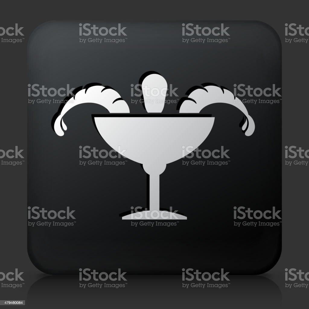Black Square Button with Shrimp Cocktail Icon vector art illustration