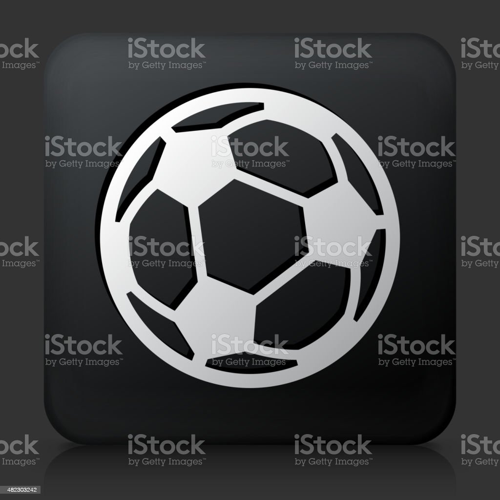Black Square Button with Soccer Ball Icon vector art illustration