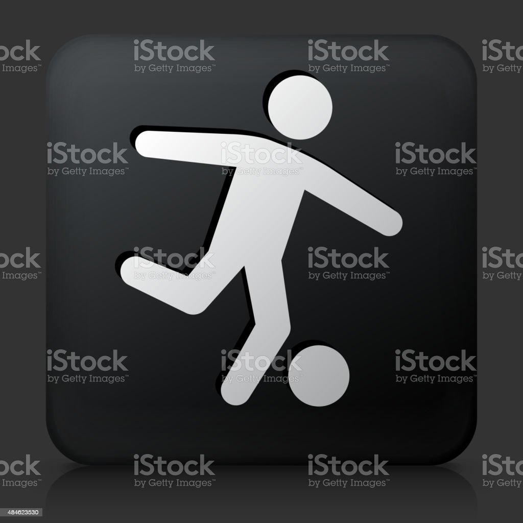 Black Square Button with Soccer Icon vector art illustration