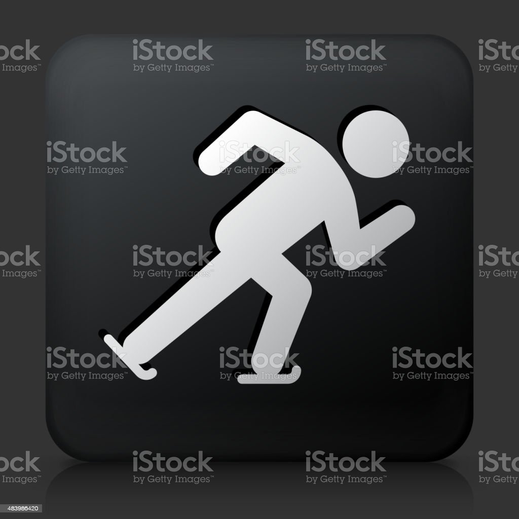 Black Square Button with Speed Skating Icon vector art illustration