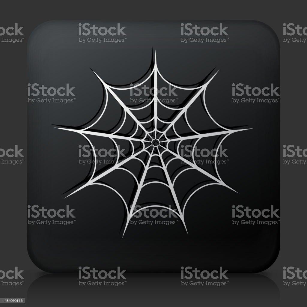 Black Square Button with Spiderweb vector art illustration
