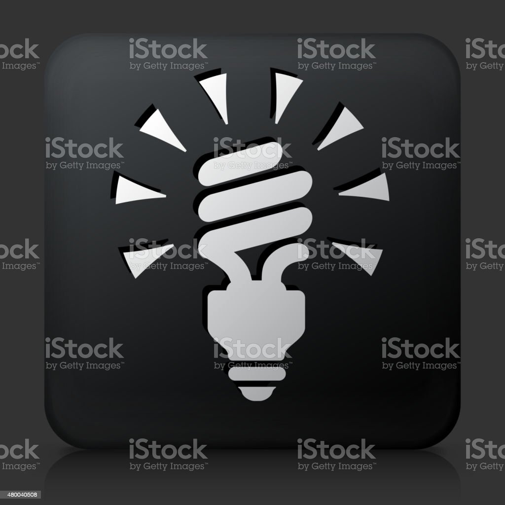 Black Square Button with Spiral Energy Saving Light Bulb vector art illustration