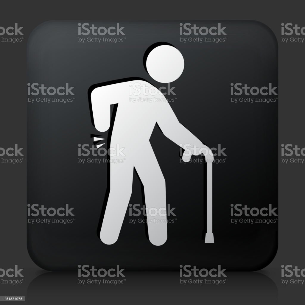 Black Square Button with Sprained Elderly Man vector art illustration