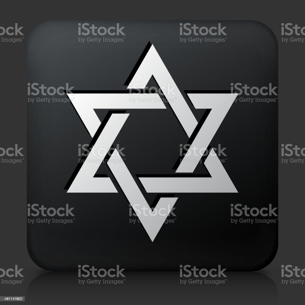 Black Square Button with Star of David Icon vector art illustration