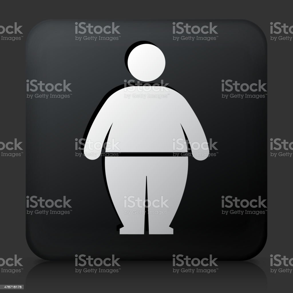 Black Square Button with Stick Figure and Weight Gain vector art illustration