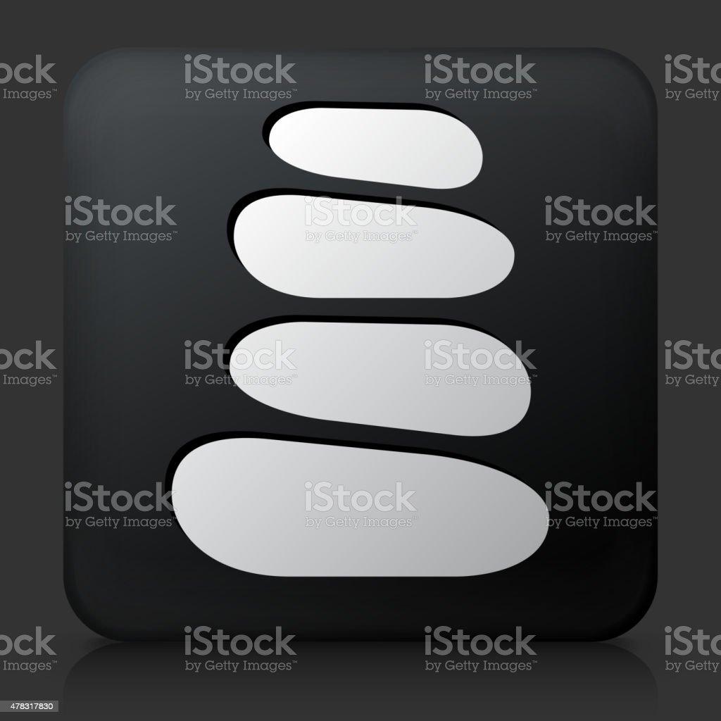 Black Square Button with Stone Path Icon vector art illustration